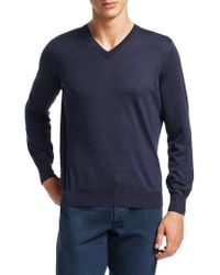 Brunello Cucinelli - Wool & Cashmere V-neck Pullover - Lyst
