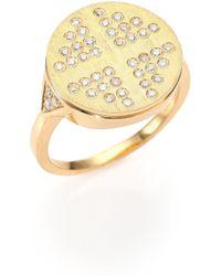 Devon Woodhill - 18k Brushed Yellow Gold & Diamond Dee Signet Ring - Lyst