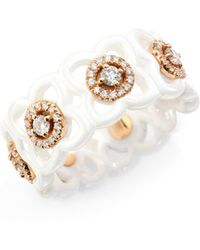 De Beers - Daylight Enchanted Lotus Diamond, 18k Rose Gold & White Ceramic Band Ring - Lyst