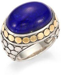 John Hardy - Batu Dot Lapis Lazuli, 18k Yellow Gold & Sterling Silver Dome Ring - Lyst