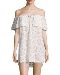 6 Shore Road By Pooja - Off-shoulder Ruffle Cotton Cover-up - Lyst