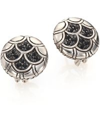 John Hardy - Naga Black Sapphire & Sterling Silver Button Earrings - Lyst