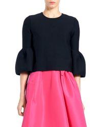 Carolina Herrera - Knit Bell-sleeve Wool Top - Lyst