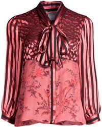 Alice + Olivia - Jeannie Sheer Leopard Yoke Stripe Sleeve Tie Neck Blouse - Lyst