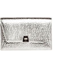 Akris - Anouk Hammered Leather Envelope Clutch - Lyst