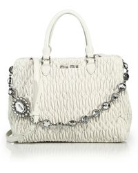 Miu Miu - Nappa Crystal Matelasse Leather Satchel - Lyst