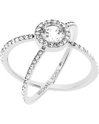 Michael Kors - Modern Brilliance Crystal Double-band Ring/silvertone - Lyst