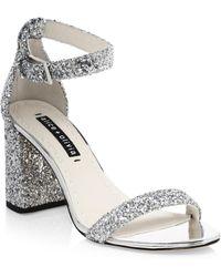 Alice + Olivia - Lillian Glitter Leather Ankle-strap Heels - Lyst