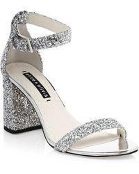 048123da1e4b Alice + Olivia - Women s Lillian Glitter Leather Ankle-strap Heels - Silver  - Size