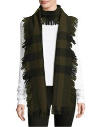 da3b48ef9140 Lyst - Burberry Ivory and Grey Mega Check Cashmere Fringe Scarf in Black
