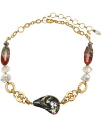 Chan Luu - Abalone 13-14mm Pearl & Mixed Stone Goldtone Short Necklace - Lyst
