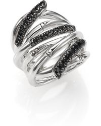John Hardy - Bamboo Black Sapphire & Sterling Silver Wide Multi-row Ring - Lyst