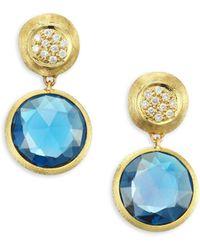 Marco Bicego - Jaipur London Diamond & Blue Topaz Drop Earrings - Yellow Gold - Lyst