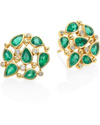 Temple St. Clair - Pear Cluster Diamond, Emerald & 18k Yellow Gold Stud Earrings - Lyst