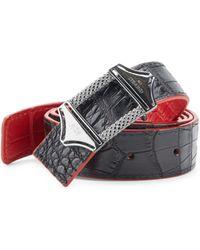 Stinghd - Reversible Croc-embossed Leather Belt - Lyst