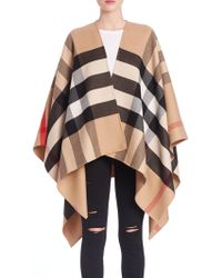 Burberry - Reversible Check Wool Poncho - Lyst