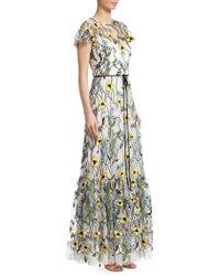 ML Monique Lhuillier - Short-sleeve Floral-print Gown - Lyst