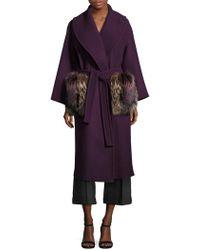 AQUILANO.RIMONDI Wool Fur Pocket Coat