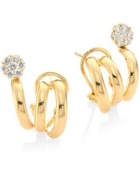 Hueb - Diamond Flower & 18k Yellow Gold Earrings - Lyst
