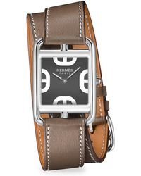 Hermès - Cape Cod Stainless Steel & Leather Double-wrap Watch - Lyst