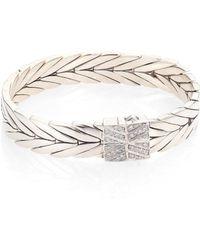 John Hardy - Modern Chain Diamond & Sterling Silver Bracelet - Lyst