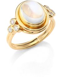 Temple St. Clair | Classic Oval Diamond, Royal Blue Moonstone & 18k Yellow Gold Ring | Lyst