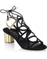 b80d14dea7cc Lyst - Ferragamo Vinci Flower-heel Suede Sandals in Black - Save 53%