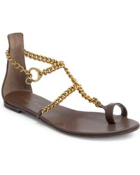 Gianvito Rossi - Leather Chain Toe-loop Flat Sandals - Lyst