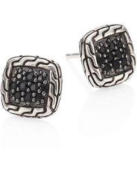 John Hardy - Classic Chain Sterling Silver & Black Sapphire Lava Stud Earrings - Lyst