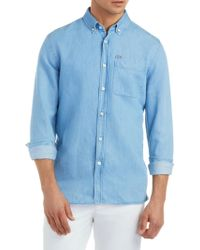 Lacoste - Textured Cotton Button-down Shirt - Lyst