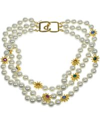 Kenneth Jay Lane - 8mm Pearl Three-row Necklace - Lyst