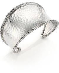 John Hardy - Classic Chain Hammered Sterling Silver Cuff Bracelet - Lyst