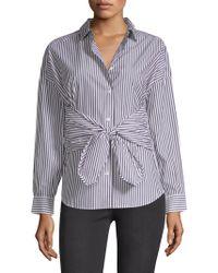 FRAME - Tie Long-sleeve Poplin Shirt - Lyst