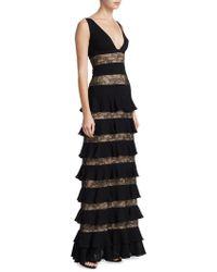 ML Monique Lhuillier - Lace Tiered Gown - Lyst