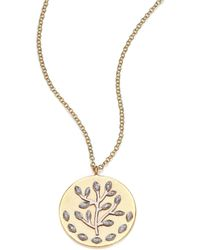 Meira T   Diamond & 14k Yellow & White Gold Tree Of Life Necklace   Lyst