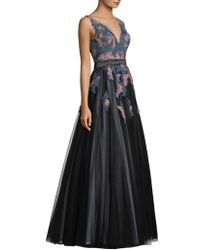 Basix Black Label - Embroidered V-neck Sleeveless Ball Gown - Lyst