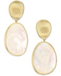 Marco Bicego - Lunaria White Mother-of-pearl & 18k Yellow Gold Post Earrings - Lyst