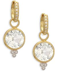 Jude Frances - Provence White Topaz, Diamond & 18k Yellow Gold Round Earring Charms - Lyst