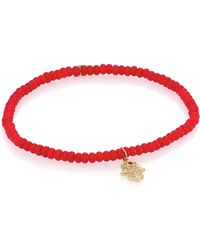 Sydney Evan - 3mm Beaded Coral Bracelet With Diamond Hamsa Pendant - Lyst