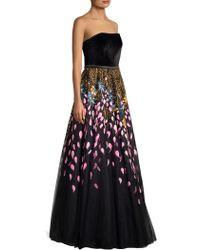 Basix Black Label - Women's Handpainted Sleeveless Gown - Black - Size 14 - Lyst