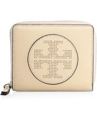 Tory Burch | Perforated Logo Medium Leather Zip Wallet | Lyst