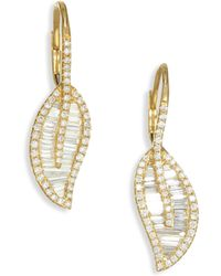 Anita Ko - 18k Gold & Diamond Leaf Drop Earrings - Lyst