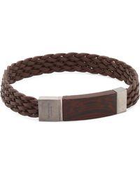 Tateossian - Madera Silver, Wood & Leather Braided Bracelet - Lyst