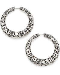 John Hardy - Classic Chain Sterling Silver Hoop Earrings/0.8 - Lyst