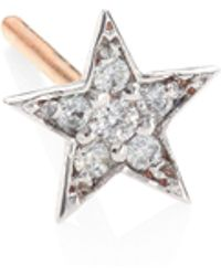 Kismet by Milka - Heroine Star Diamond & 14k Rose Gold Single Stud Earring - Lyst