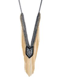ABS By Allen Schwartz | Smoke & Mirrors Fringe Beaded Y Necklace | Lyst