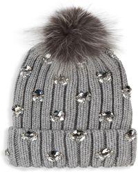 Jocelyn - Fox Fur Pompom Embellished Wool Hat - Lyst