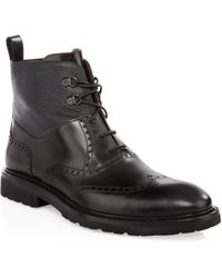 A.Testoni - Leather Derby Boots - Lyst