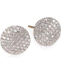 Phillips House - Pavé Diamond & 14k Yellow Gold Infinity Stud Earrings - Lyst