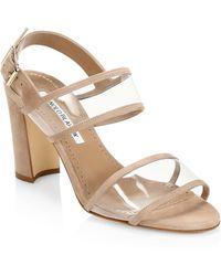 8308d469056 Lyst - Manolo Blahnik Lauratomod Snakeskin Ankle-wrap Sandal in Metallic
